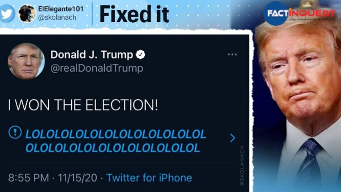 Donald Trump's 'I WON THE ELECTION' tweet is now the most popular meme on social media