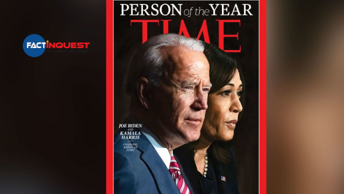 time magazine select the person of the year in Jo Biden and Kamala Haris