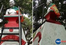 BJP flag on Gandhi statue in Palakkad municipality