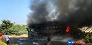 bus catches fire in Rajasthan galore