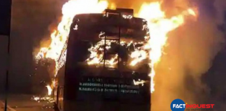 In Bengal, a bus carrying polling officials was set on fire